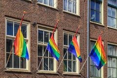Rainbow flag, selective focus, Amsterdam.  stock photos