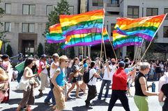 Rainbow Flag in Toronto Pride 2010 stock image