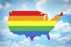 Rainbow flag on USA with sky background Stock Images