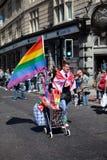 Rainbow Flag Vendor in Brighton Gay Pride 2011 stock photo