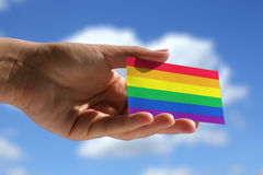 Rainbow flag on visiting card Stock Images