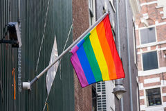 Rainbow flag on the wall Stock Photo