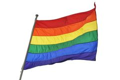 Rainbow flag on white background Royalty Free Stock Photo