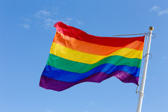 Rainbow flag in the wind royalty free stock photo