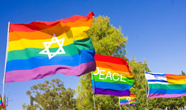 Rainbow Flags. Set of rainbow flags with Israeli national symbols and the word PEACE Royalty Free Stock Photo