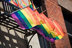 Rainbow flags on Christopher street, Greenwich village,  New York Stock Images