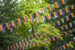 Rainbow flags in the garden during the gay pride Stock Photography