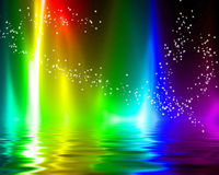 Rainbow flames. On a dark black background Royalty Free Stock Photo