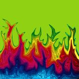 Rainbow flames. Rainbow colored fire flames on green background Stock Photos
