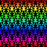 Rainbow flames seamless texture. Colorful twisted wave flames shape over a contrasting black background. Seamless pattern texture Royalty Free Stock Images