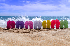 Rainbow Flip Flops Royalty Free Stock Photography