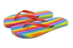 Rainbow flip-flops Stock Image
