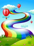 A rainbow and floating balloons in the sky. Illustration of a rainbow and floating balloons in the sky Royalty Free Stock Images