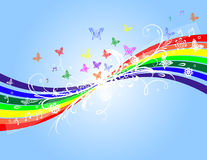 Rainbow and floral background Royalty Free Stock Photo