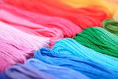 Rainbow floss. Close up embroidery floss, rainbow colours Stock Image