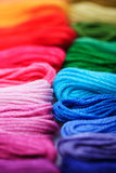 Rainbow floss. Close up embroidery floss, rainbow colours Royalty Free Stock Image