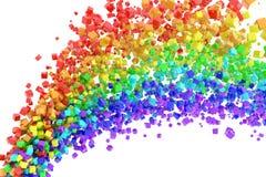 Rainbow flow. Rainbow stream of cubes. Hi-res digitally generated image Royalty Free Stock Photos