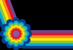 Rainbow with Flower. On black background Royalty Free Stock Images