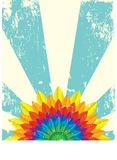 Rainbow Flower Card. Illustration of a card with a rainbow flower at the bottom Royalty Free Stock Images