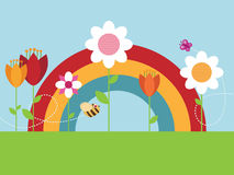 Rainbow flower garden Stock Photography