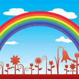 Rainbow in flower garden Royalty Free Stock Photo