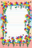 Rainbow flower group butterfly line frame. This illustration is design rainbow flower group with butterfly with pastel line and color background frame Stock Image