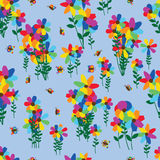 Rainbow flower group butterfly seamless pattern Royalty Free Stock Images