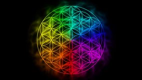 Rainbow flower of life with aura stock video footage