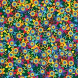 Rainbow flower many seamless pattern Stock Photography