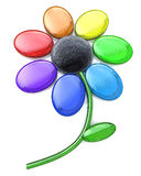 Rainbow Flower - Multi Colored Petals of Daisy Flower. In the design of information related to plants. 3d illustration stock illustration