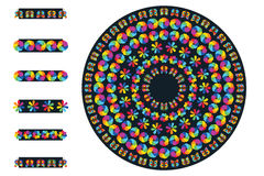 Rainbow flower pattern brush circle. This illustration is design and drawing rainbow butterflies and flowers with pattern brush circle only (Flexible Stock Images
