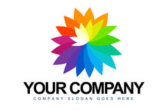 Rainbow Flower Petals Logo Royalty Free Stock Images