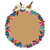 Rainbow flower roses bird circle Stock Image