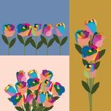 Rainbow flower set Royalty Free Stock Photos
