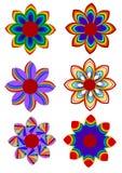 Rainbow Flower Set Stock Images