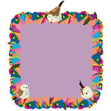 Rainbow flower square frame birds Royalty Free Stock Images
