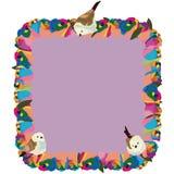 Rainbow flower square frame birds vector illustration
