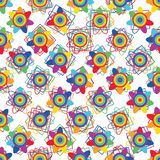 Rainbow flower symmetry diamond shape seamless pattern. This illustration is design rainbow flower with diamond shape decoration on white color background and Royalty Free Illustration