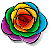 Rainbow flower on white Stock Photo