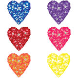 Rainbow Flowered Hearts Royalty Free Stock Photo