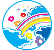 Rainbow and Flowers. 1970 stylization Royalty Free Stock Photography