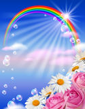 Rainbow and flowers. Sky, flowers, clouds, rainbow and sunshine