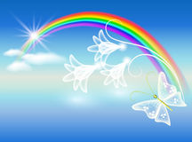 Rainbow and flowers. Rainbow, clouds, flowers and butterfly Royalty Free Stock Photo