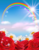 Rainbow and flowers Stock Photo