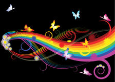 Rainbow with flowers. And butterflies on black background Royalty Free Stock Photography