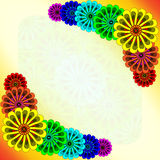 Rainbow flowers postcard Royalty Free Stock Images