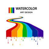 Rainbow from the flowing-down paints in style grunge.art design Royalty Free Stock Images