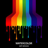 Rainbow from the flowing-down paints in style grunge Royalty Free Stock Image