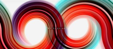 Rainbow fluid color line abstract background - swirl and circles, twisted liquid colours design, colorful marble or. Plastic wavy texture backdrop, multicolored vector illustration