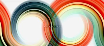 Rainbow fluid color line abstract background - swirl and circles, twisted liquid colours design, colorful marble or. Plastic wavy texture backdrop, multicolored Stock Photo